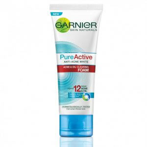 6. Garnier Skin Naturals Pure Active Anti-Acne White Acne & Oil Clearing Foam ( 100 g.)