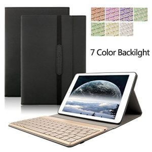3. Dingrich Trifold Protective Stand Auto Sleep Wake up Smart Cover with 7 Color Backlit Aluminum Bluetooth Keyboard
