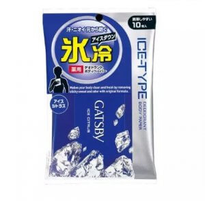 8.GATSBY - Ice Type Paper Deodorant Body Paper Cool Citrus (10 sheets)