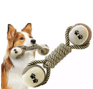 10. VAKIND :Pet Chew Toy Dumbbell Rope Tennis Training Tool
